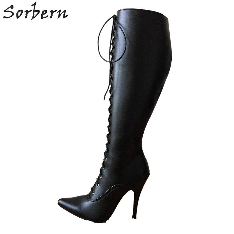 Sorbern 12 เซนติเมตร Stiletto Heel Lace Up Custom Shalf กว้างลูกวัวขนาดรองเท้าผู้หญิง Hard เพลาเข่า Hi Pointed Toe สไตล์วินเทจเครื่องราง-ใน รองเท้าบู๊ทสูงระดับเข่า จาก รองเท้า บน   1