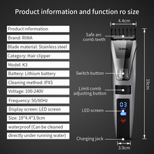 Riwa K3 100-240V LCD Fast Charging Waterproof Men's Electronic Trimmer Trimer Professional Clippers Hair Cutting Machine Men Kid