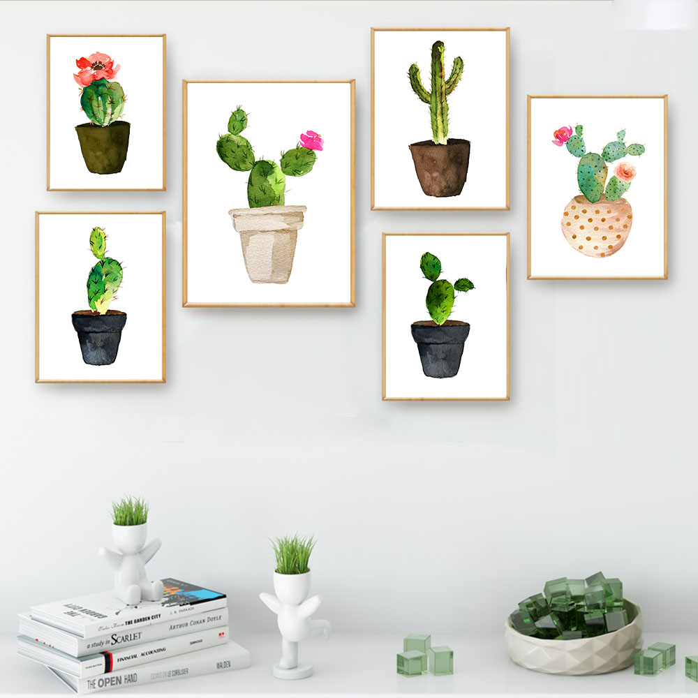 Nordic Minimalism Watercolor Flower Cactus Decorative Canvas Poster Wall Art Print Living Room Painting Picture