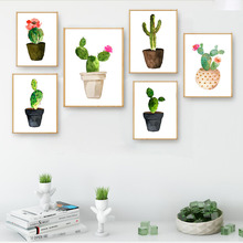 Watercolor Flower Cactus Decor Canvas Nordic Posters Wall Art Prints Minimalist Painting Pictures for Living Room