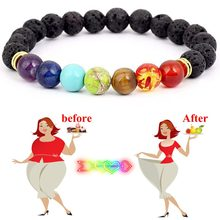 Vintage Lose Weight Chakra Bracelet For Women Black Lava Natural Stone Balance Beads Adjustable Reiki Buddha Prayer Bracelet(China)