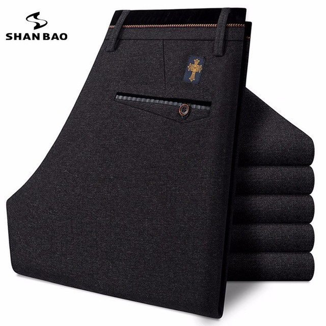 SHAN BAO luxury brand clothing men's business casual pants high quality thick warm winter patch embroidered trousers men 8826