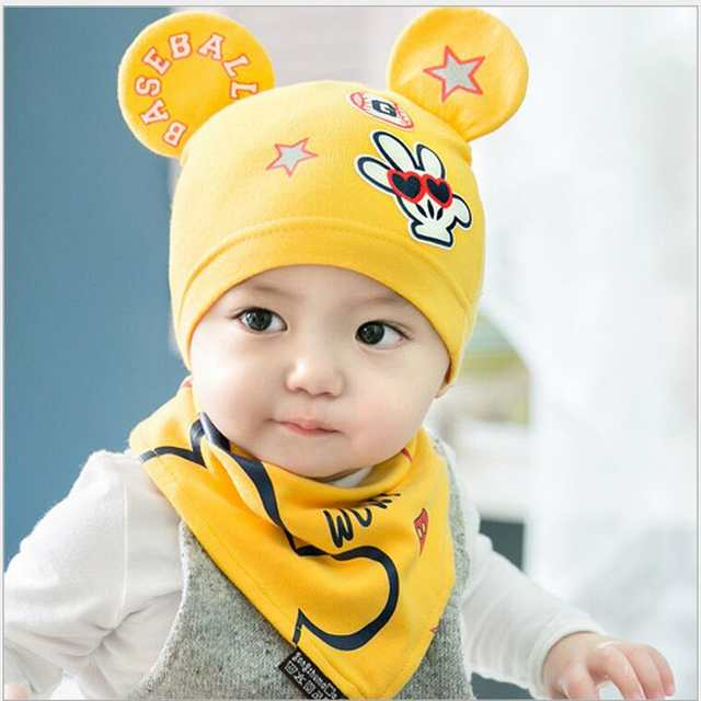 598cd9615336 new 2018 girls hats spring autumn infant cotton hat baby bandana scarf set  bib yellow red turban baby hats for boys newborn cap
