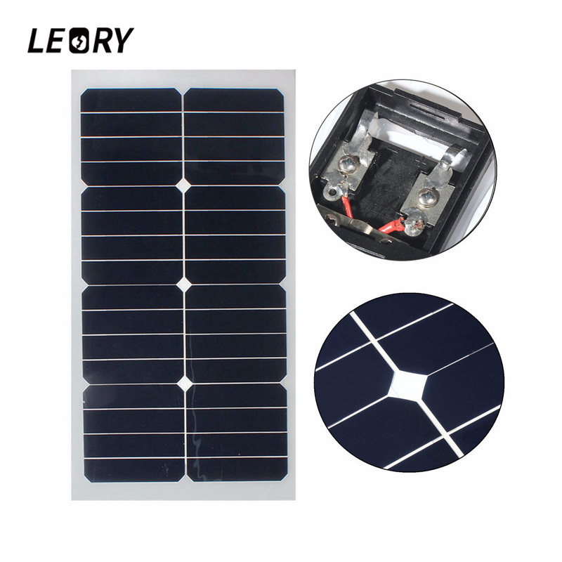 LEORY 20W 12V Solar Panel Semi Flexible Solar Cells With 300cm Cable For Car Batteries RV Boat 12v pwm 20w solar panel waterproof semi flexible monocrystalline solar panel for rv car boat battery charger solar cells 2 led