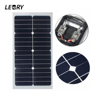 LEORY 20W 12V Solar Panel Semi Flexible Solar Cells With 300cm Cable For Car Batteries RV Boat