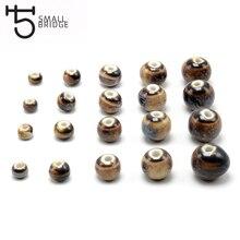 6 8 10mm Large Hole Glazed Round Ceramic Bead For Jewelry Making Bracelet DIY Perles Loose Spacer Porcelain WholesaleT711