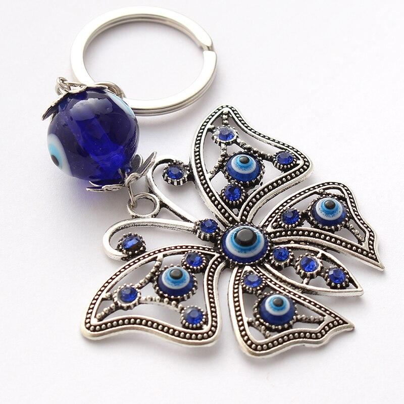 Evil Eye Butterfly Key chain w// Blue Crystals /& Talisman #1312