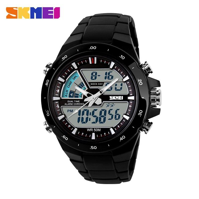 SKMEI Relojes de cuarzo hombres deportes Relojes hombre reloj 5ATM Digital-reloj de la manera militar multifuncional reloj Montre Homme