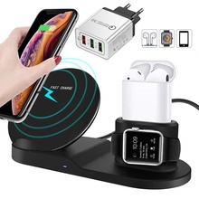 New 10W Qi Wireless Charger Stand For Apple Airpods Watch 4 3 2 1 Fast Wireless Charging Dock Station For Iphone X 8 Xiaomi Mi 9 carprie qi fast 3 ports wireless charger holder stand charging dock for iphone x apple pencil airpods 20a drop shipping