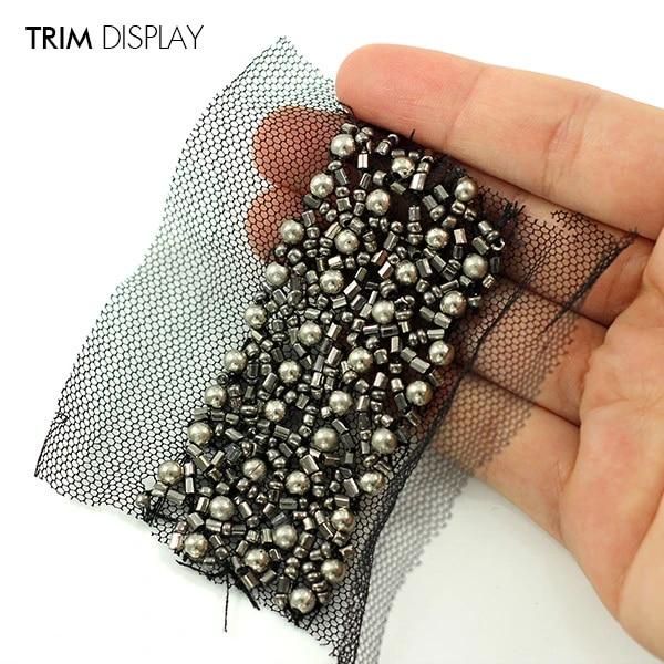 1yard Beaded Rhinestones Trim Braided Net Lace Ribbon Embellishments Sliver