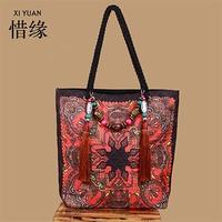 XIYUAN BRAND New fashion women's tassel handbag national blue bag vintage Embroidery flowers linen shoulder bag messenger bag