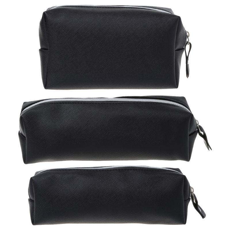 Black Pencil Case PU Leather School Pencil Cases For Girls Big Pencil Bag School Supplies Stationery Storage Bag Pen Box