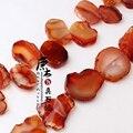 Rojo Natural Rebanada de la Ágata Pepita Suelta Perlas Capítulo Perforado Pulido Losa de Ágata Gema semipreciosa Piedra Colgante de DIY Que Hace