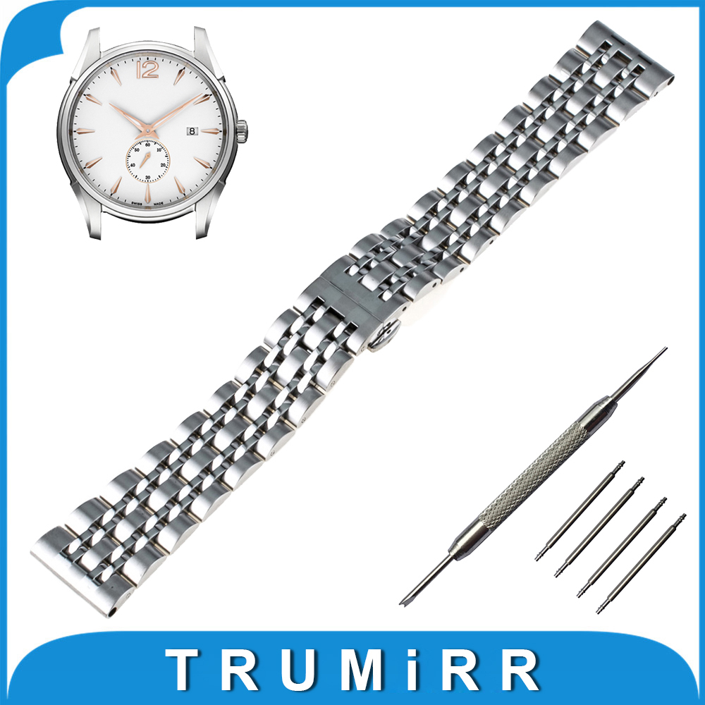 22mm 24mm Stainless Steel Watch Band Butterfly Buckle Strap + Tool for Hamilton Strap Wrist Belt Bracelet Black Rose Gold Silver stainless steel cuticle removal shovel tool silver