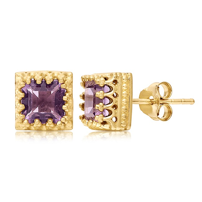 2.48 Ct Princess Cut Amethyst 18K Yellow Gold Over Silver Crown Stud Earrings все цены