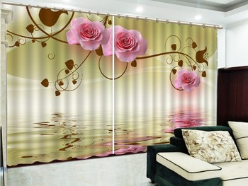 Customized Curtain On The Water, Three Roses, 3D Flower Curtains, Your Favorite High-End Practical Curtains