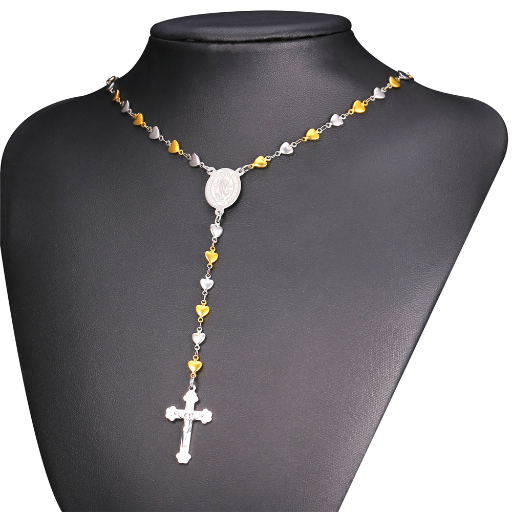 Rosary Necklace For MenWomen Christian Jewelry Gold Color Stainless