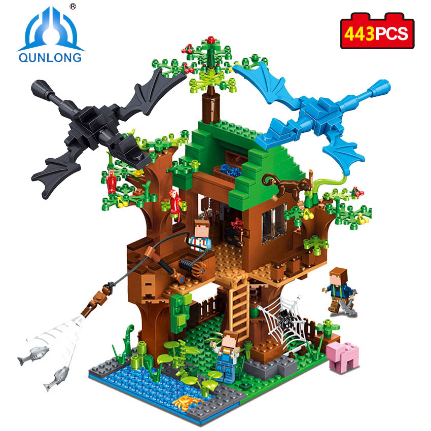 Qunlong Minecrafted Figures Classic Building Blocks Bricks Educational Toys For Children Gift Compatible Legoed Minecrafted City plants vs zombies garden maze struck game building blocks bricks like figures minecraft toys for children gift b11