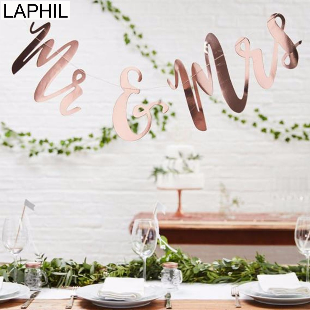 LAPHIL Mr Mrs Wedding Banner Rose Gold Paper Banner Rustic Wedding Decoration Bride To Be Wedding Signs Engagement Party Favors