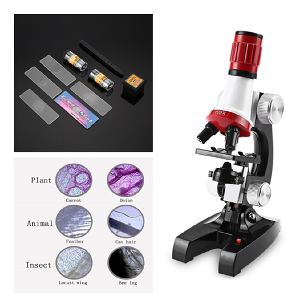 Educational Toy Zoom Illuminated Monocular Plastic Biological Microscope 100X 400X 1200X for Kids Birthday Gift for Childrens