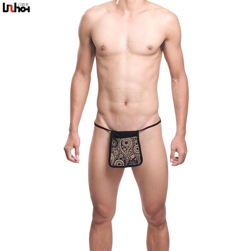 Uzhot 100% Cotton U Bag Print Lacing Male Triangle Panties Male Sexy Panties 13014