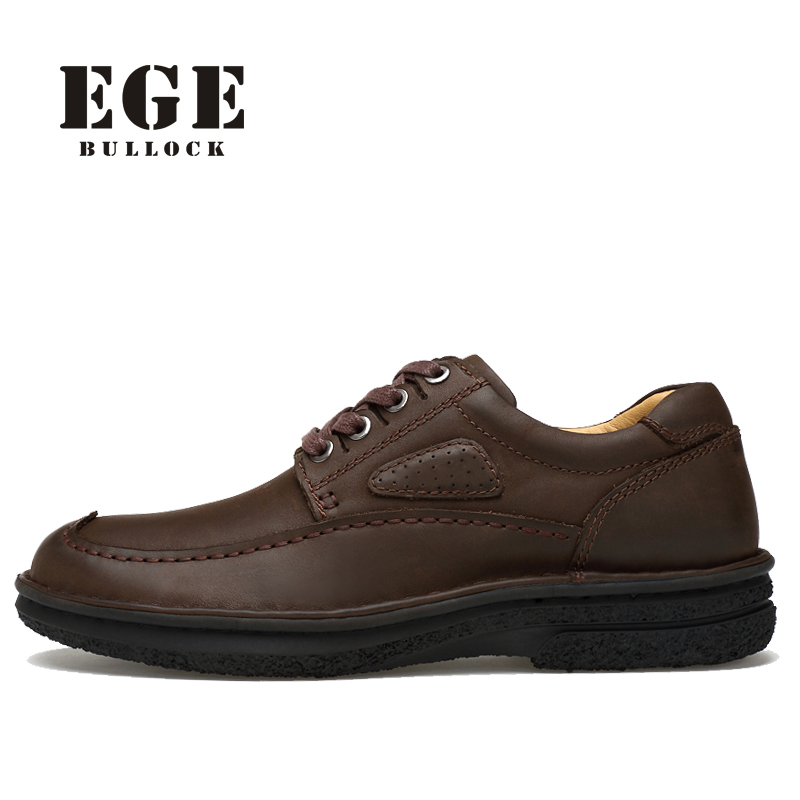 EGE Brand Handmade Ankle Men Boots,Autumn Genuine Leather top quality Male Shoes,Lace-up Classics Sewing Boots for Men relikey brand men dress shoes handmade genuine cow leather top quality brogue shoes lace up new big size bullock style shoes men
