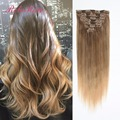 New Brazillian Virgin Hair Straight Hair Clip In Extensions Ombre Clip In Hair Extensions Human Hair 7pcs/ 130G free ship