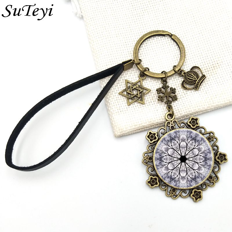 SUTEYI Vintage Henna Flowers Glass Dome Keychain Rope Chain Star Snowflake Crown Flower Shaped For Women Bag Accessories