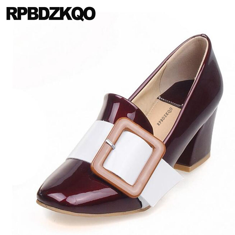 square toe size 4 34 medium heels patent leather wine red green dress shoes women party block 33 11 43 pumps plus high 10 42 new fashion pumps elegant metal size 4 34 women medium square toe female chunky wine red patent leather shoes new 33 modern china