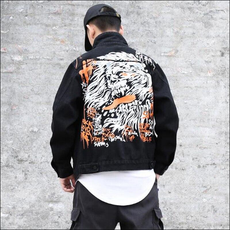 High Dieu Noire Streetwear Street 2018 Graffiti Un Mort Personnalité La Denim De Rock Original Hop Veste Hommes Noir Hip ynw08vmNO