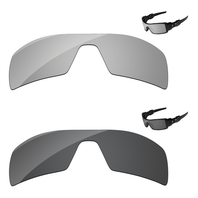 10b714c67d7 Black   Chrome Silver 2 Pieces Polarized Replacement Lenses For Oil Rig  Sunglasses Frame 100%