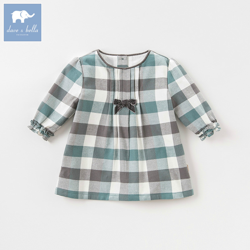 DB8711-2 dave bella autumn infant baby girl's fashion plaid dress kids birthday party dress toddler children clothes цена 2017
