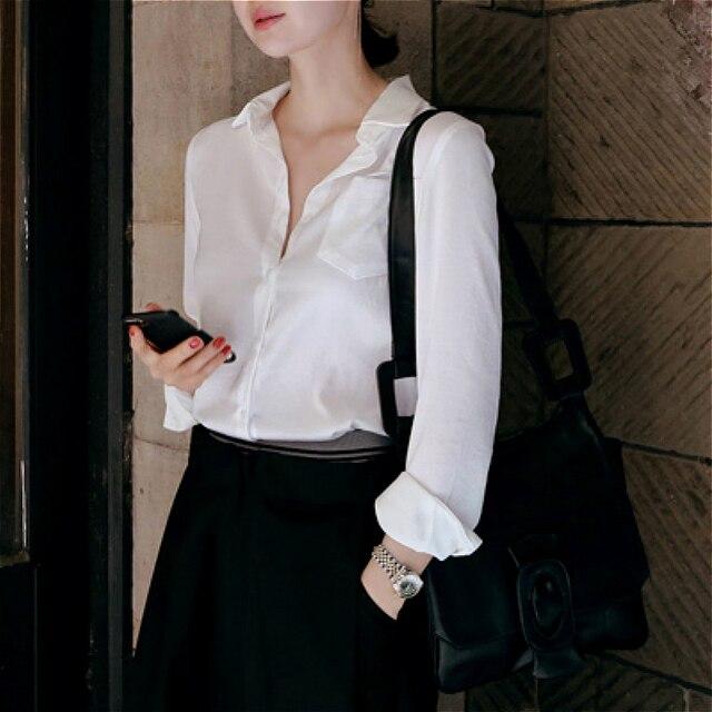 664e7d78965f S-XXXL women satin silk blouse button ladies silk satin blouses shirt  casual White Black Gold Red long sleeve satin blouse top