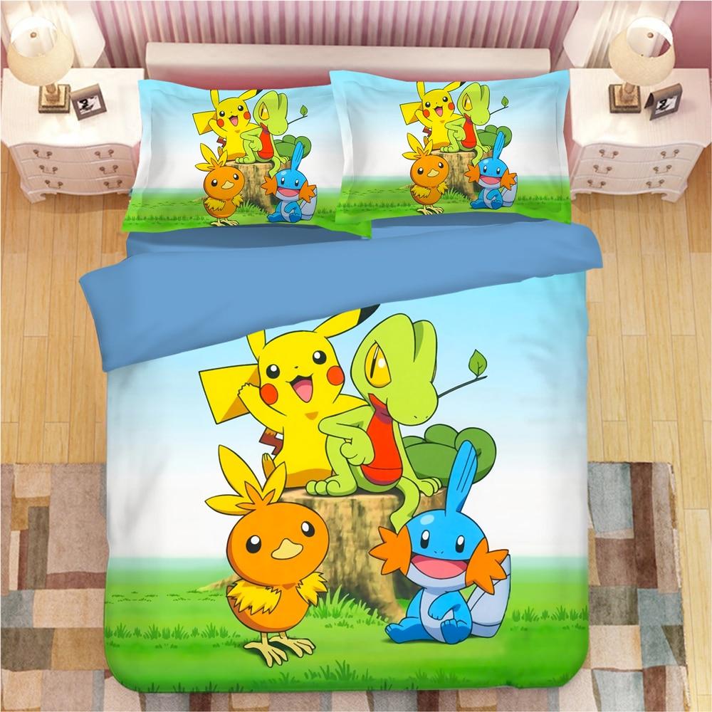Pokemon Cartoon Anime Bedding Set Duvet Covers Pillowcases Pikachu Kids Room Decor Comforter Bedding Sets Bed Linen Bedclothes