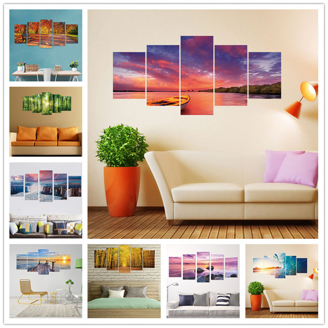 vinyl background fake landscape wall diy stickers decor 5pcs bedroom livingroom decal painting mural printed mouse zoom