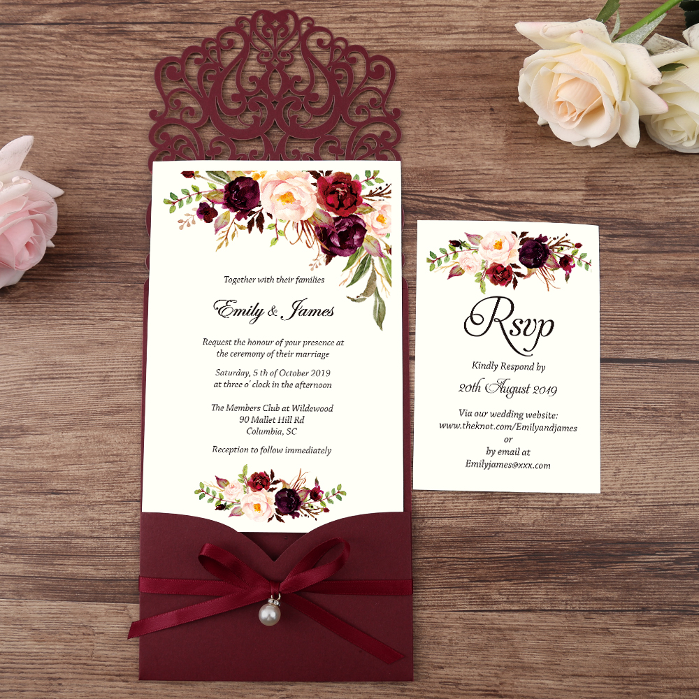 100pcs Burgundy New Arrival Horizontal Laser Cut Wedding Invitations With Pearl Ribbon,RSVP Card,Customizable