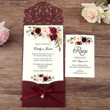 100pcs Burgundy New Arrival Horizontal Laser Cut Wedding Invitations with pearl ribbon,RSVP card,Customizable