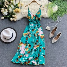 Women Spaghetti Strap Maxi Dress Sexy Backless Chiffon Dress A-Line Casual Floral Print Bohemian Dress