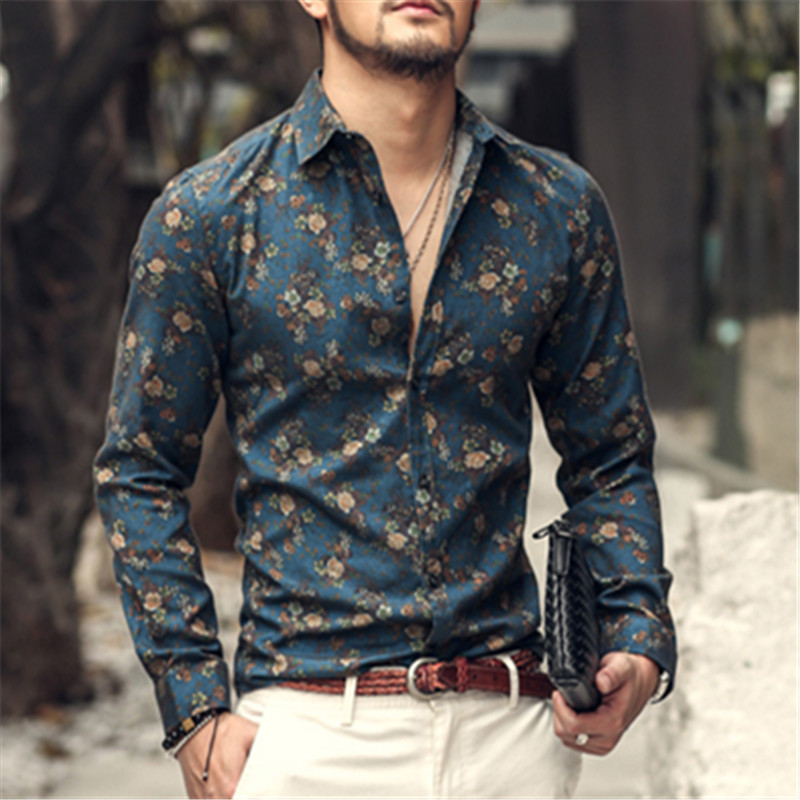 2016 autumn new fashion flower printed Mens Long Sleeve Shirt slim shirts vintage Linen Casual Men S2004