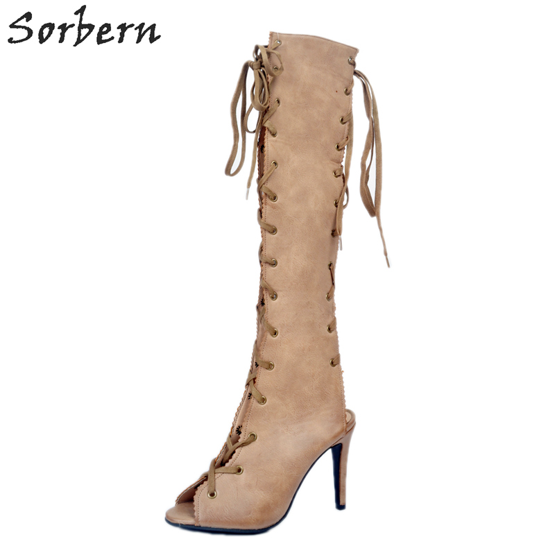 Khaki Knee Boots Woman Side Lace Up 34-48 Knee Boots For Women Sexy New Arrive Spring Womens Boots High HeelsKhaki Knee Boots Woman Side Lace Up 34-48 Knee Boots For Women Sexy New Arrive Spring Womens Boots High Heels
