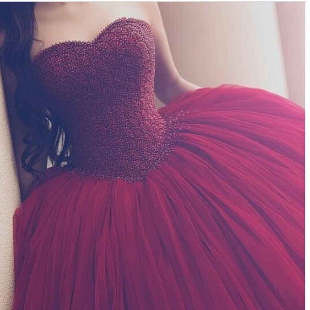 vestido formatura   prom     dresses   burgundy sweetheart neckline pearls beaded ball gown wine red evening   dresses   formal   dress   puffy