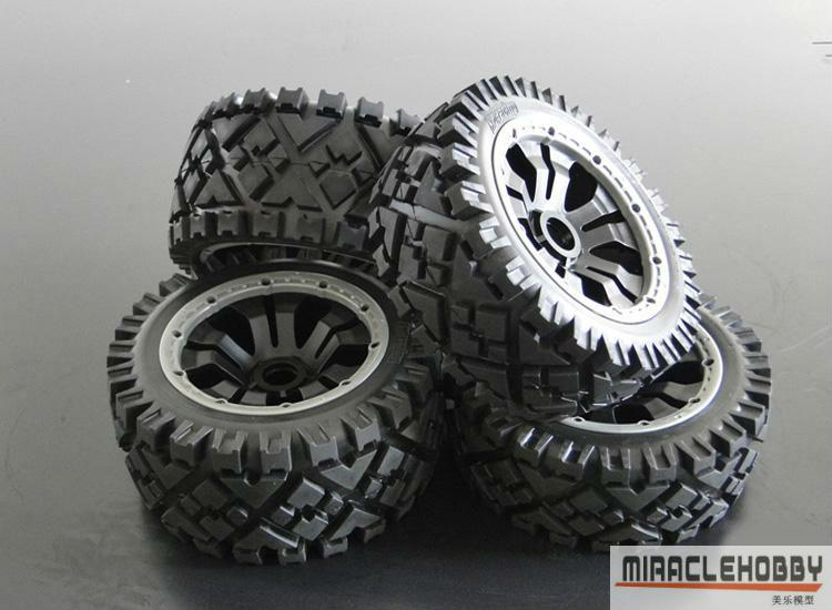 All terrain off-road wheel assembly Deep tread for 1:5 HPI KM ROVAN BAJA 5BAll terrain off-road wheel assembly Deep tread for 1:5 HPI KM ROVAN BAJA 5B