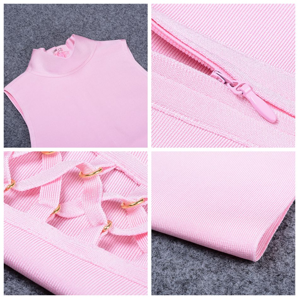 Adyce 2019 nieuwe zomer vrouwen runway bandage jurk roze zwart groen - Dameskleding - Foto 6