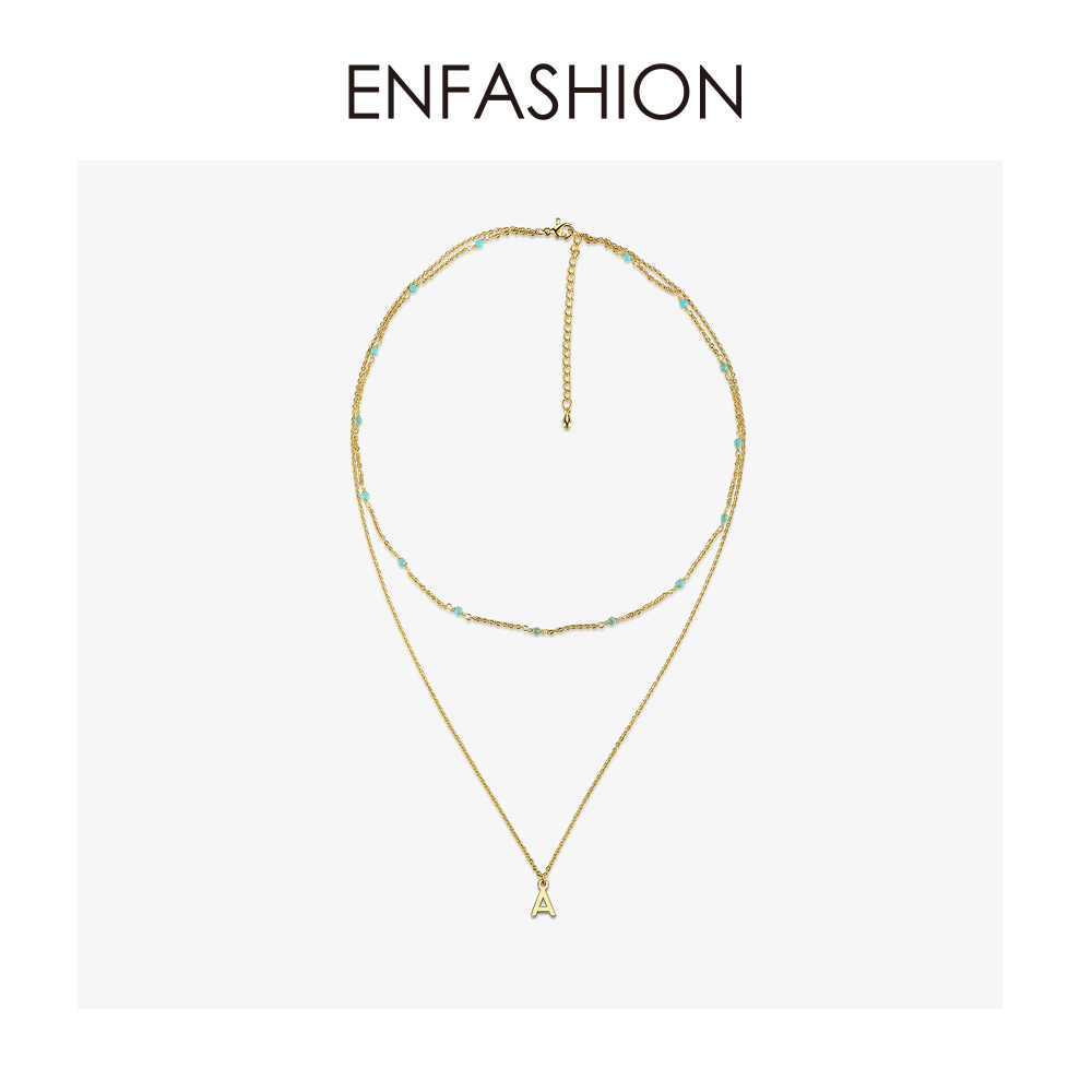 Enfashion Letter Name Necklaces Alphabet Initial Necklace Gold Color Double Chain Choker Necklace For Women Jewelry 183006