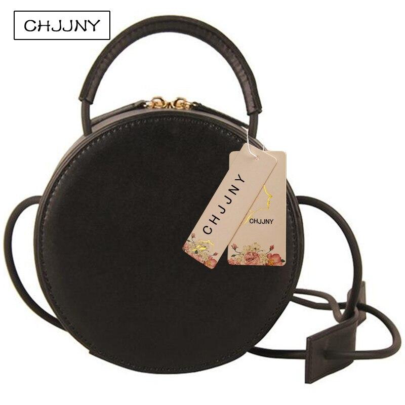 ФОТО CHJJNY korean new style circular bag fashion simple vintage women genuine leather messenger bags