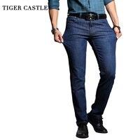 TIGER CASTLE Washed Elastic Men Denim Pants Cotton Slim Blue Long Jeans Men Quality Business Casual