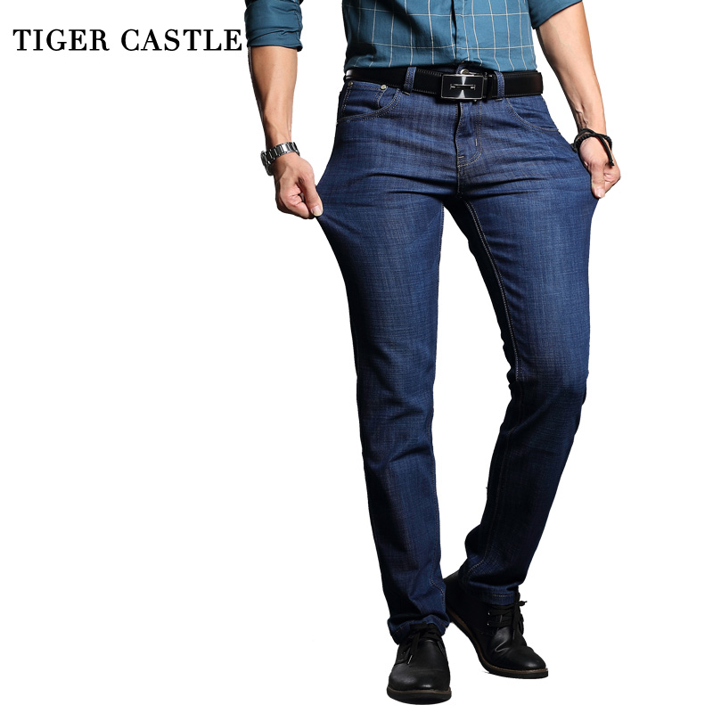 TIGER CASTLE Washed Elastic Men Denim Pants Cotton Slim Blue Long Jeans Men Quality Business Casual Male Trousers Size 38 40 vila платье vila модель 25960236