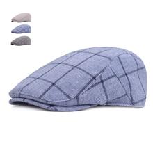 Moda verano sombreros de Sol para hombres mujeres Casual cuadros algodón boina  Gorras Planas Boinas a cuadros gorra ajustable ma. 01350821ca9