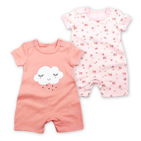 2pcs Lot Infant Toddlers Baby Jumpsuit 2018 Summer Short Sleeve 100 Cotton Newborn Romper Baby Girl