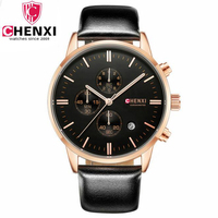 CHENXI New Leather Watch Men Golden Wristwatches Mens Watches Casual Multifunction Chronograph Calendar Rlogio Masculino 903